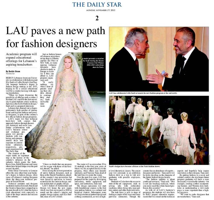LAU and Internationally Acclaimed Designer Elie Saab ...