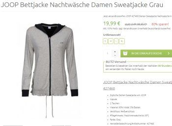 Joop: Damen-Sweatjacke für 19,99 Euro frei Haus https://www.discountfan.de/artikel/klamotten_&_schuhe/joop-damen-sweatjacke-fuer-19-99-euro-frei-haus.php Bei Outlet46.de ist ab sofort eine Damen-Sweatjacke von Joop für nur 19,99 Euro frei Haus zu haben. Verfügbar ist das Marken-Textil in den Größen S bis XL. Joop: Damen-Sweatjacke für 19,99 Euro frei Haus (Bild: Outlet46.de) Die Damen-Sweatjacke von Joop für 19,99 Euro frei Haus ist nur für wenige... #Damen, #Jacke