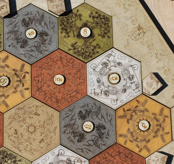 Love this custom laser engraved Catan Board by Thinking Monk Studios!!