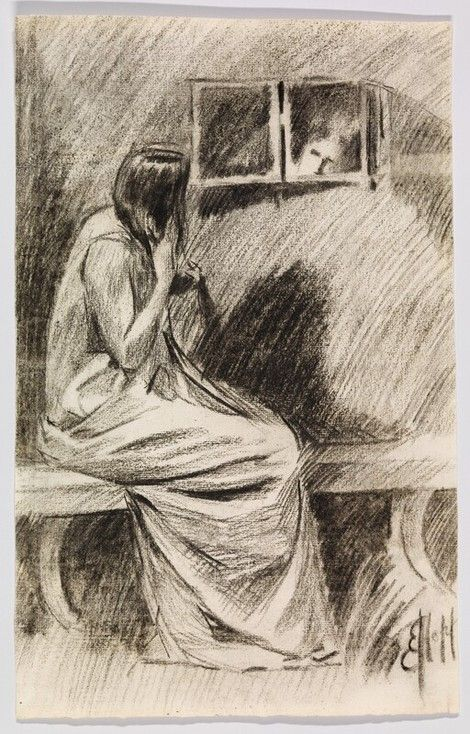 Edward Hopper I Study of a Seated Woman Styling Hair before Mirror I ca. 1900