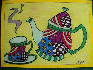 A Pretty Talent Blog: Turning your Adult Coloring Page into a Place Mat - Tea Set