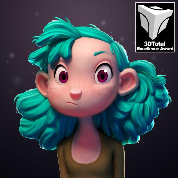 Turquoise Haired Girl, Julien Kaspar on ArtStation at https://www.artstation.com/artwork/lr6OJ