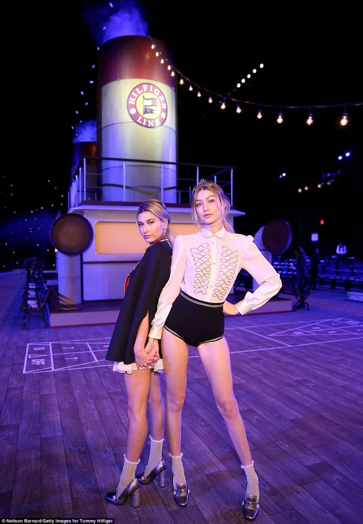 Captains of the ship: Hailey Baldwin and Gigi Hadid posed aboard the TH  Atlantic set