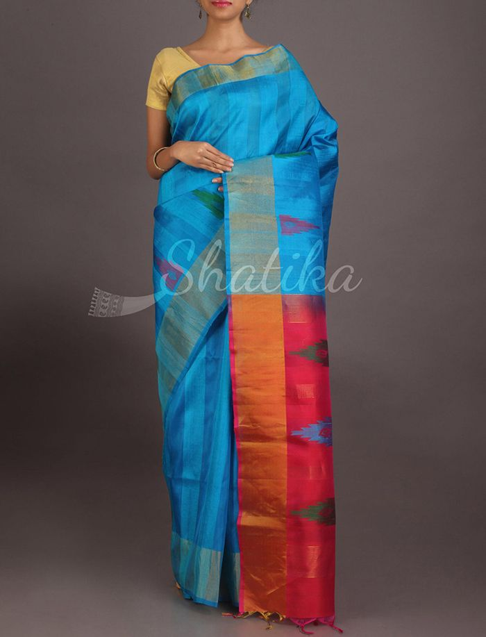 Lasya Icy Blue Splendor Contrast Pallu Pure #IkatSilkSaree