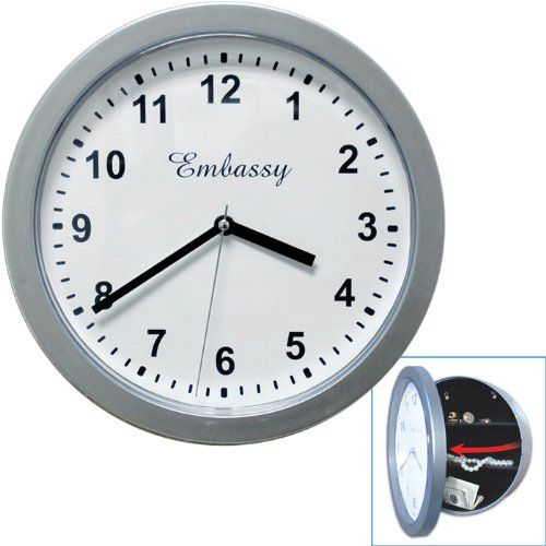 Special Offers - Trademark Silver Wall Clock With Hidden Safe 10 Inches By 10 Inches - In stock & Free Shipping. You can save more money! Check It (June 06 2016 at 03:21PM) >> http://wallclockusa.net/trademark-silver-wall-clock-with-hidden-safe-10-inches-by-10-inches/