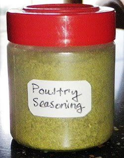Homemade Poultry Seasoning Ingredients: 2 tablespoons dried parsley 2 tablespoons dried sage 2 tablespoons dried thyme 1 tablespoon ground marjoram 1 tablespoon celery Salt 1 tablespoon dried...