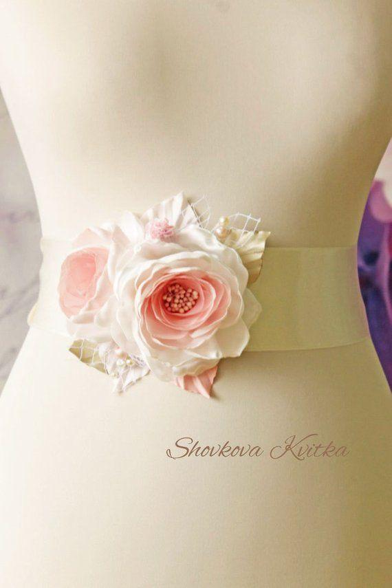 Handcraft Wedding Dress Rose Flower Belt Waistband Bride Bridesmaid LA