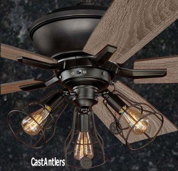 "52"" Edison Rustic Ceiling Fan w/ Industrial Cage Light"