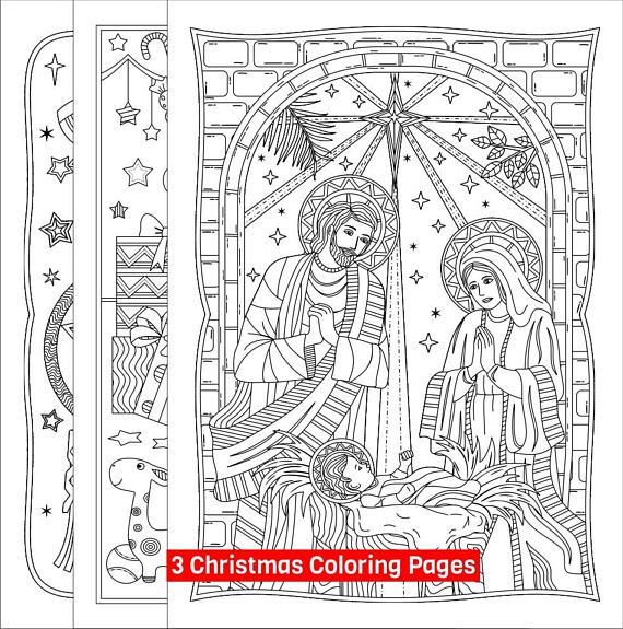 Three Printable Christmas Coloring Pages 1 Nativity 2
