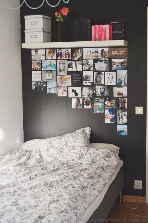 bedroom idea } black wall } photos } pictures } shelf