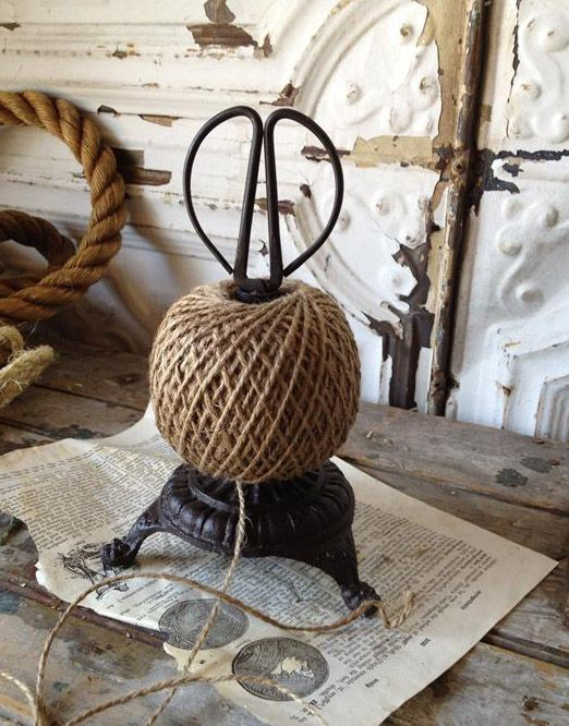 Footed Cast Iron Twine String Holder With Scissors French Country Kitchen Garden