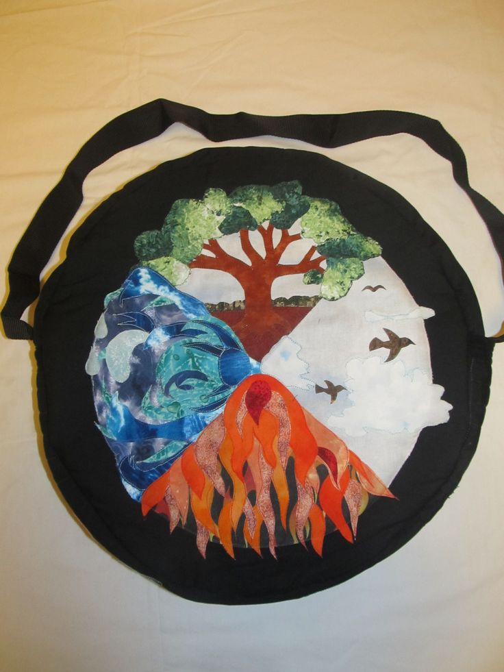 Another bag with the four elements in a design, Earth, Air, Fire and Water