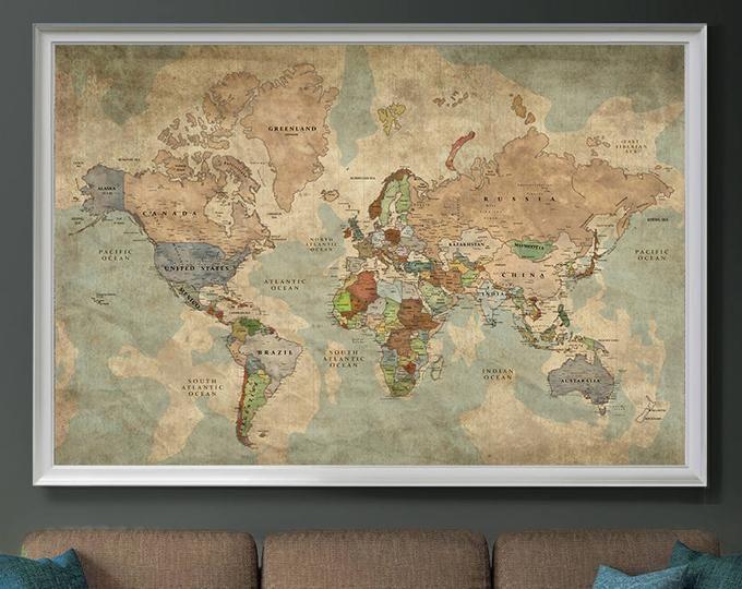 World Map Push Pin Extra Large Wall Art Print Traveler Gift Etsy Map Wall Art World Map Wall Art Map Art