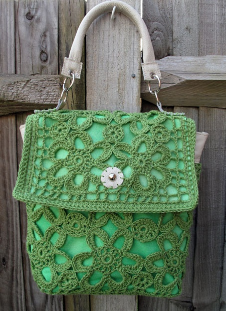 Rococo Handbags - green crochet bag with cream leather handle