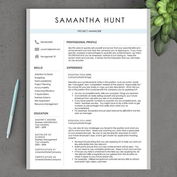 resume template icon set cover letter instant download resume