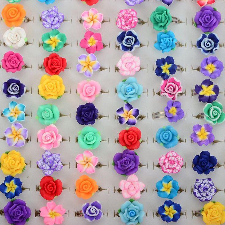 100Pcs Wholesale Lots Bulk Mixed Polymer Clay Children Kids Girls Finger Rings Flower Adjustable Rings For Kids anel dedo