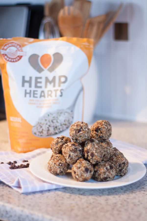 Best Energy Ball Recipe!! 2 cups large rolled oats 1 cup choc chips 1/2 cup unsweetened shredded coconut 1/2 cup hemp hearts 1/2 cup chia seeds Mix together well then add 1/2 cup honey 1 cup melted peanut butter Mix everything together and then roll into bite size balls.  Refrigerate or store in freezer.