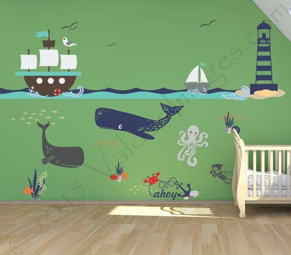 Ship adventure nursery decals, nursery decor, nautical wall decal, ocean wall decal, sea wall decal, kids wall decal, underwater decal