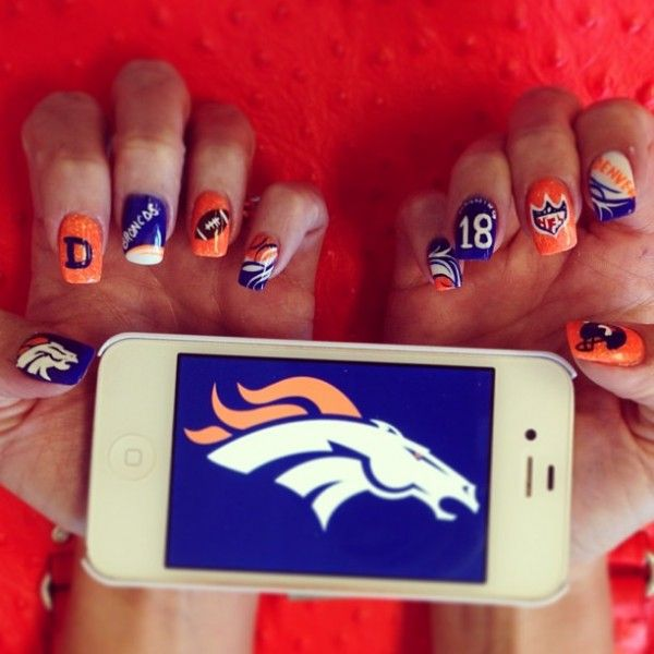 NFL Game Day Nails: 49ers, Broncos, Patriots - Broncos Nails - #broncos - 42 Best Team Spirit Style Images On Pinterest Football Nails