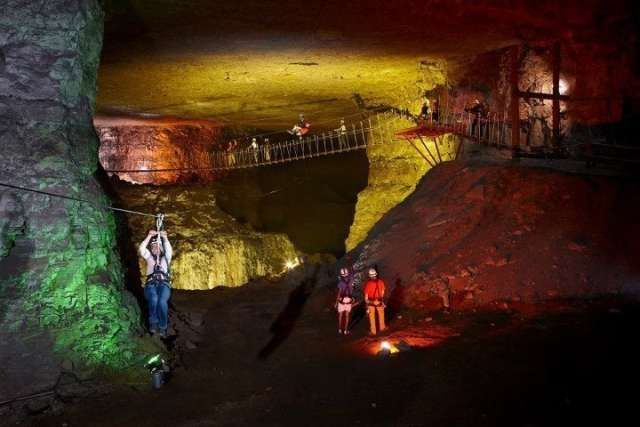 You can zip line underground through 17 miles of these Kentucky caves! Louisville Mega Cavern 1841 Taylor Ave, Louisville, Kentucky 40213 USA| (502) 855-6342