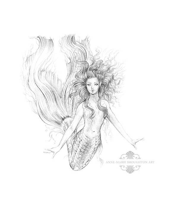 8x10 inch PRINT Sabina Mermaid Art Graphite Pencil Drawing