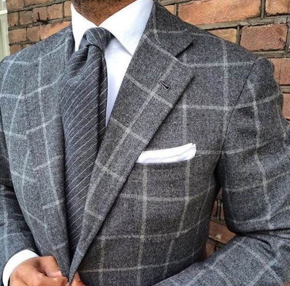 """everybodylovessuits: """"Huge window panel check suit. Looks great. """""""