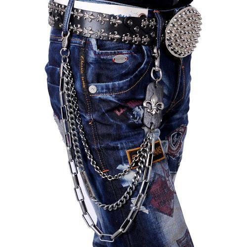 Black Studded Skull Steam Punk Emo Pants Chain Key Ring Accessories  SKU-71117002
