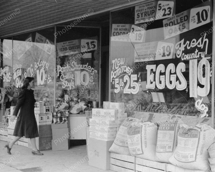 Grocery Prices Window 1940 Vintage 8x10 Reprint Of Old Photo