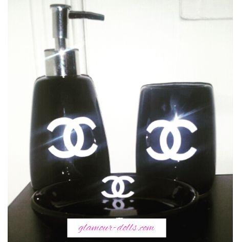 3pc Black Chanel Bathroom Toothbrush Holder Set   Glamour Dolls