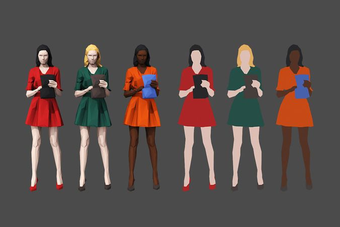 colored lowpoly people 3d model low-poly max obj fbx mtl 3