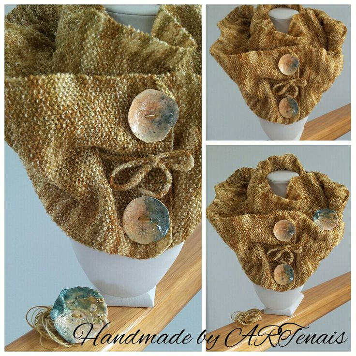 Unique hand knitted cowl...Buttons and brooch are made with polymer clay
