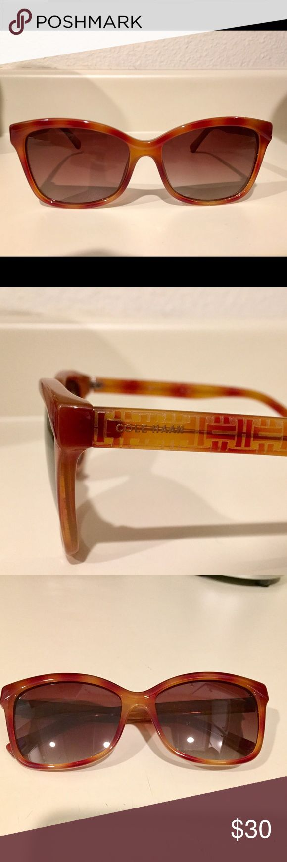 Cole Haan Women's Sunglasses Style: Cole Haan Women's Brown Tortoiseshell-Look & Yellow C17072 Wayfarer Sunglasses. Very comfortable. Worn lightly for 1 month. Cole Haan Accessories Sunglasses