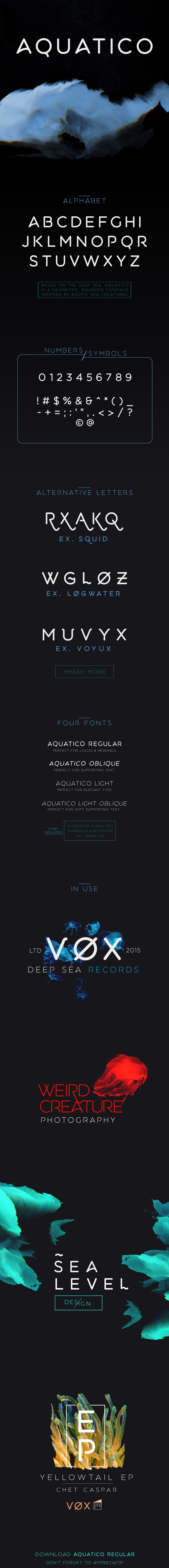 Aquatico - Free Typeface on Typography Served  #unique, #clean #easytorecognize