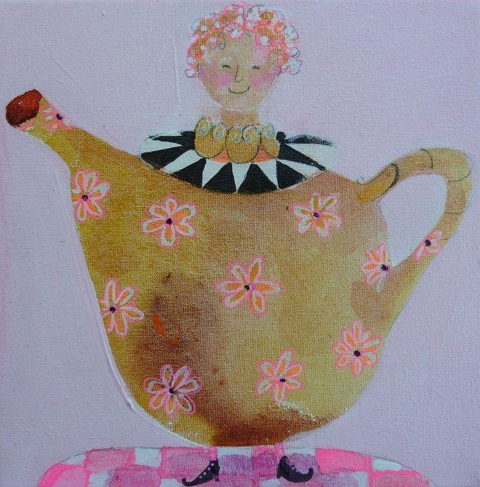 "ä lovely cup of tea""acryl op doek 20x20 cm 3d. www.moniekpeek.nl"