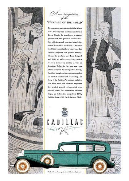 Cadillac V-16 Advertising (1932): Seven-Passenger Town Sedan - Illustrated by Robert Fawcett