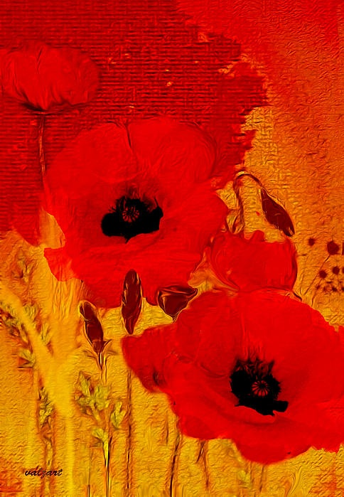 abstract realism, decorative, floral, forher, gift ides, poppies, red, valzart, yellow, tradigital art