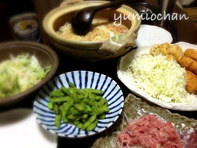 今朝は冷え込んだから、午後出勤前にコタツ出しちゃった☺☺☺ 鶏メンチカツ&レンコンフライ 本マグロの中おち 枝豆 レタス&玉ねぎサラダ 煮込みうどんかき揚げ入り(昨日までのおでんスープで) - 17件のもぐもぐ - 2012.10.20 昨日のつくねをリメイクして鶏メンチカツ by yumiochan