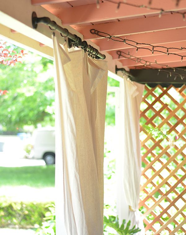 A Boho Patio Makeover Via The Power Of Paint Curtain Rods Style And Diy And Crafts