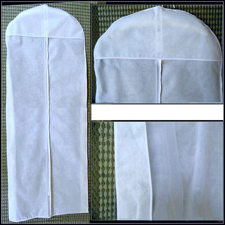 White zippered foldable  breathable wedding dress  bridesmaids dress garment bags,measured 150*58*8 cm