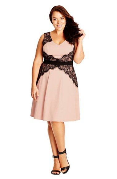 Free shipping and returns on City Chic 'Lace Corset'  Fit & Flare Dress (Plus Size) at Nordstrom.com. Placed to accentuate hourglass curves, overlays of black eyelash lace also bring day-into-night romance to a stretch-woven dress in a sweet dusty-pink shade.