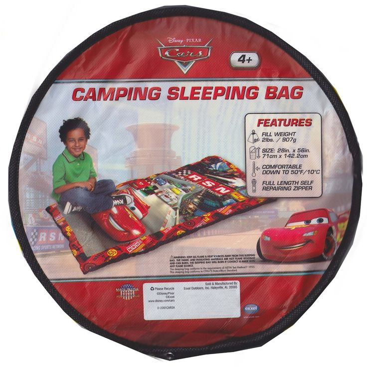 Kids Camping Sleeping Bag, Made in USA, 2 Lb, Disney Pixars Cars -- Click image for more details.