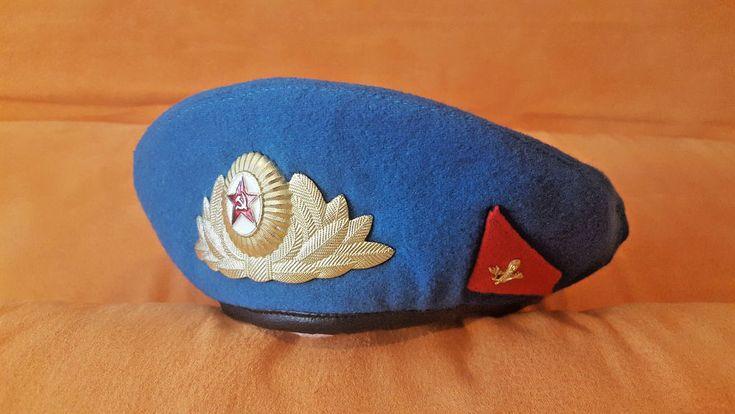 VDV Paratrooper Officer Soviet Russian Original Cap Beret USSR + BONUS CHEVRON