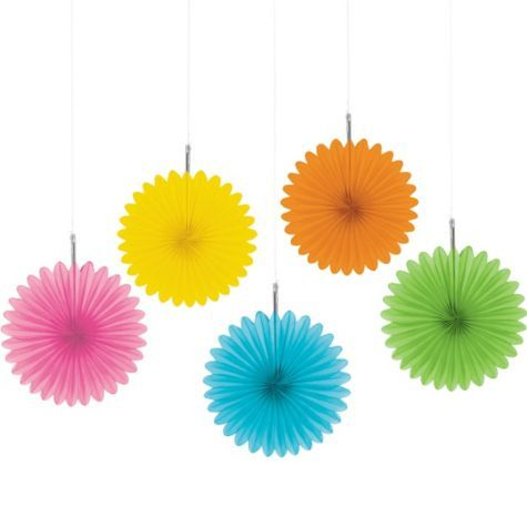 Multi Color Hanging Fan 6in 5ct - Party City