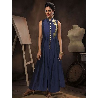 Partywear Blue Tapeta Silk Handworked Gown Blue Color Santoon Bottom, Blue Color Nazmeen Dupatta.It contained the Khatli Work With Stylist Neckline .The Salwar Suits Which can be customzied up to bust size 44