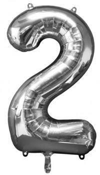 2 Sayısı Gümüş, Supershape Folyo Balon Uçan balon, balon buketi için www.partipaketi.com