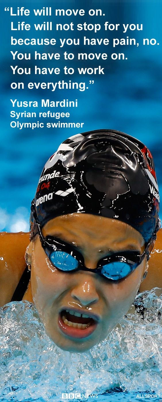 The inspirational words of Olympian Yusra Mardini. Last year she swam to save 20 refugees' lives. This year she is swimming at the Rio 2016 Olympics. Yusra, from Syria, is one of the refugee athletes competing under the Olympic flag at the Rio games. http://bbc.in/2aFUm1x