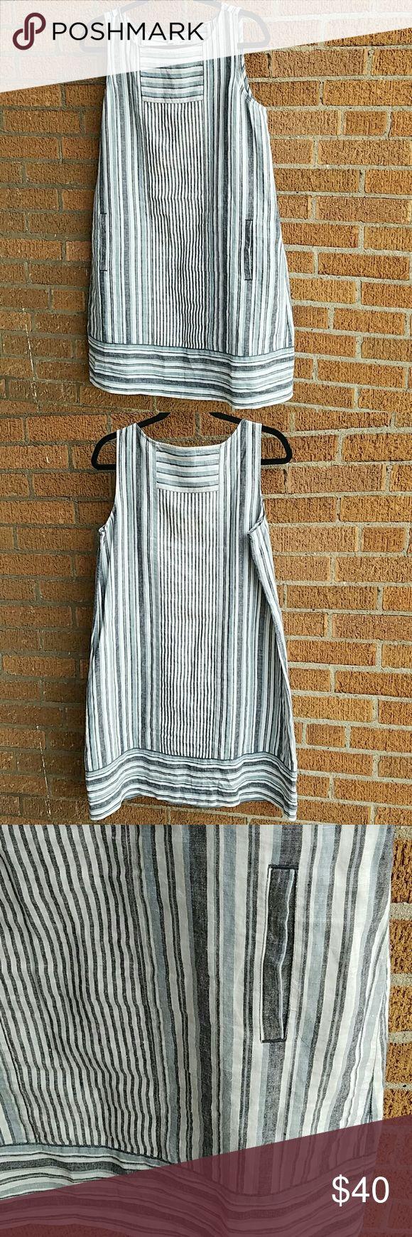 Striped linen J Jill sack dress with pockets Comfy blue gray white striped sleeveless dress with pockets.  Linen, size medium.  Item #3035- 1498 j jill Dresses Midi