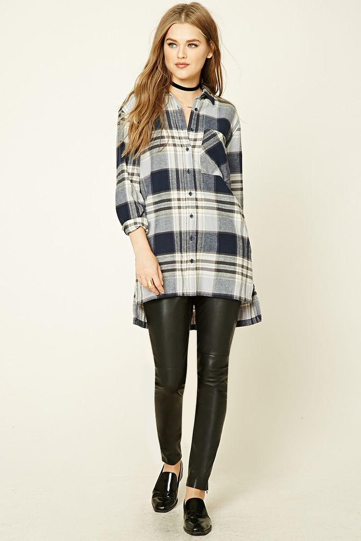 A cotton flannel longline shirt featuring a plaid print, a boxy silhouette, a basic collar, long button-cuff sleeves, a chest patch pocket, side seam pockets, and vented sides.