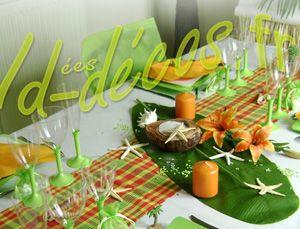 D coration de table antillaise madras deco decoration Deco de table orange