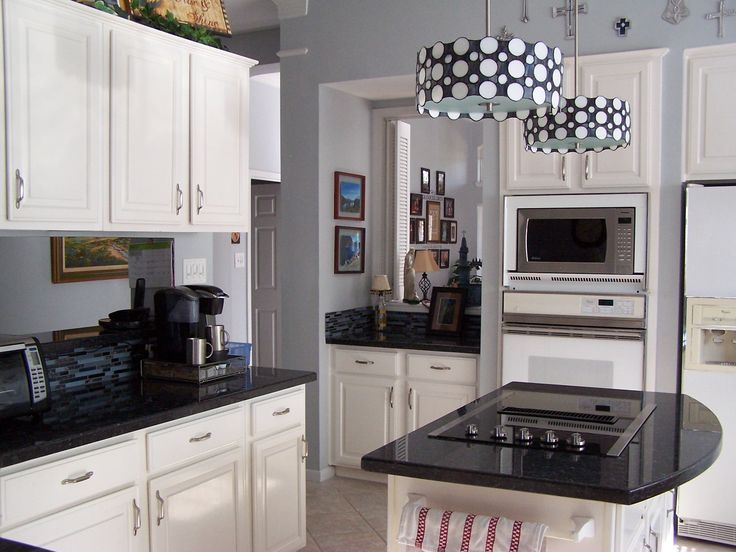 blue pearl granite and white cabinets kitchen ideas